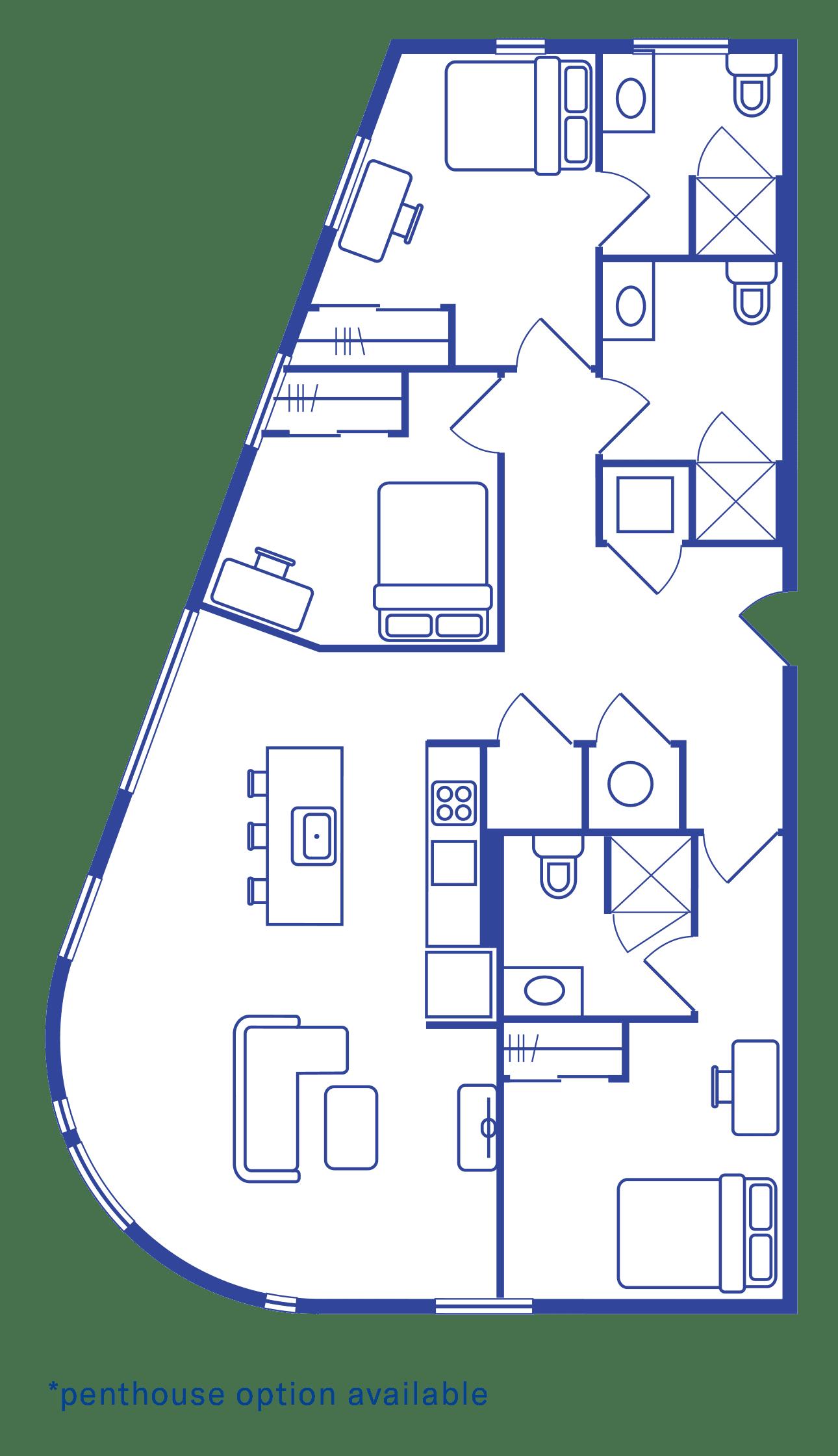 3 Bedroom & 3 Bath Floorplan 1