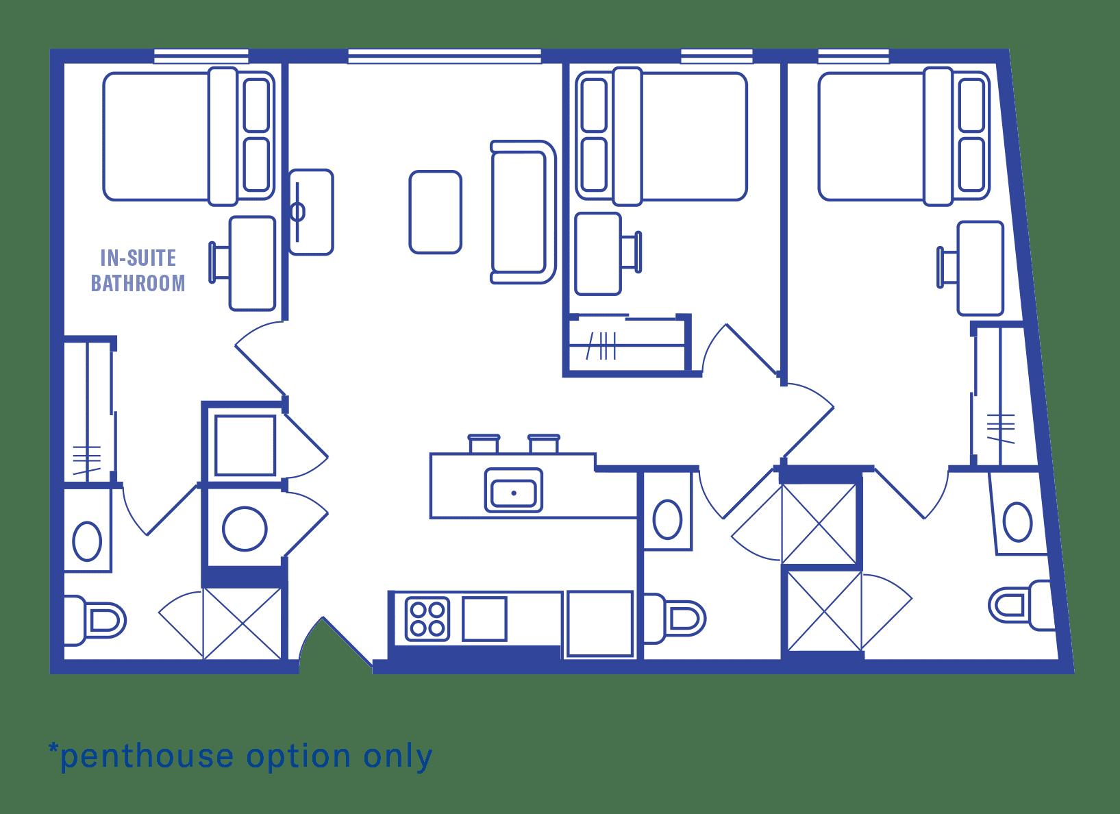 3 Bedroom & 3 Bath Floorplan 2